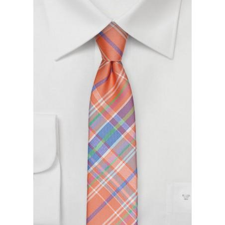 Madras Summer Skinny Tie in Orange