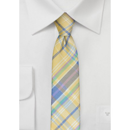 Skinny Madras Tie in Pastel Yellow