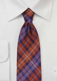Orange and Purple Tartan Plaid Tie