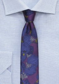 Retro Floral Tie in Purple and Blue