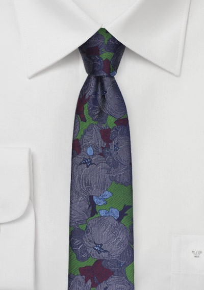 Skinny Floral Silk Tie in Forest Green and Purple