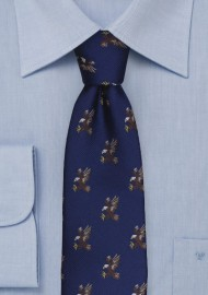Flying Bald Eagles Pattern Tie in Navy Blue