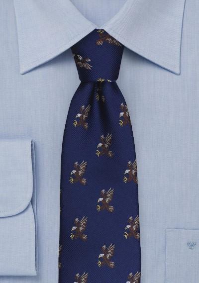 Flying Bald Eagles Pattern Tie in Navy Blue