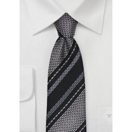 Striped Tie in Black and Gray in Raw Silk