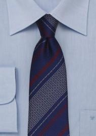 Retro Textured Striped Tie in Navy