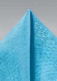 Cyan Blue Herringbone Pocket Square