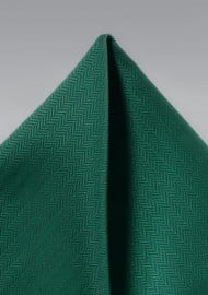 Hunter Green Herringbone Pocket Square