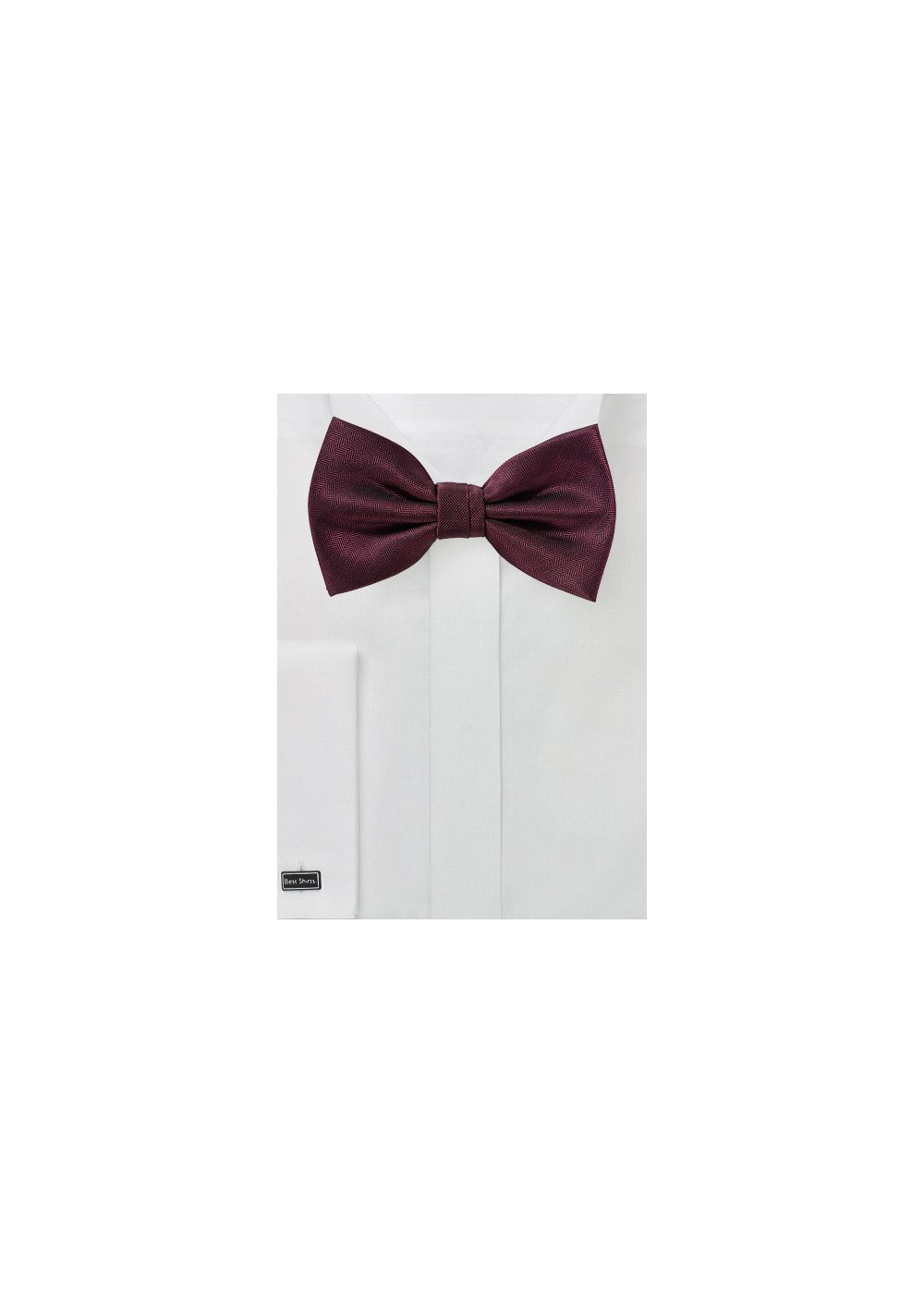 Wine Red Herringbone Bow Tie