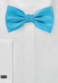 Cyan Blue Textured Bow Tie