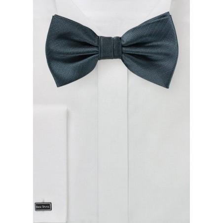 Smoke Gray Herringbone Bow Tie