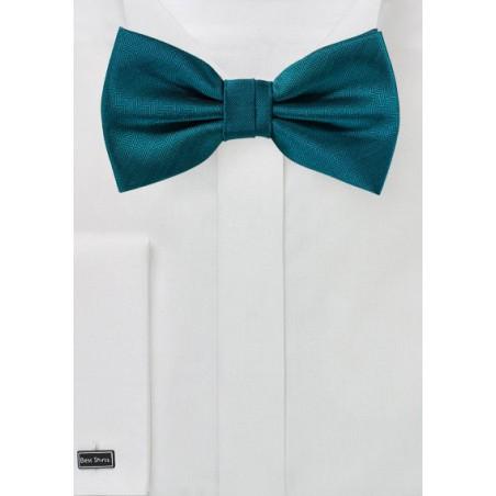 Teal Blue Herringbone Bow Tie