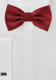 Cherry Red Herringbone Bow Tie