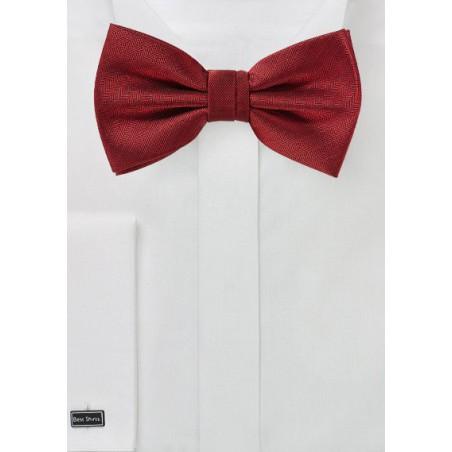 Cherry Red Herringbone Bow Tie