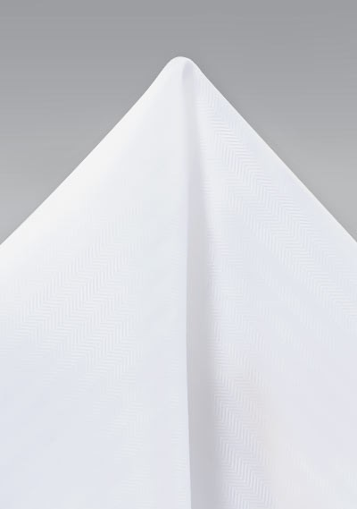 Bright White Herringbone Pocket Square