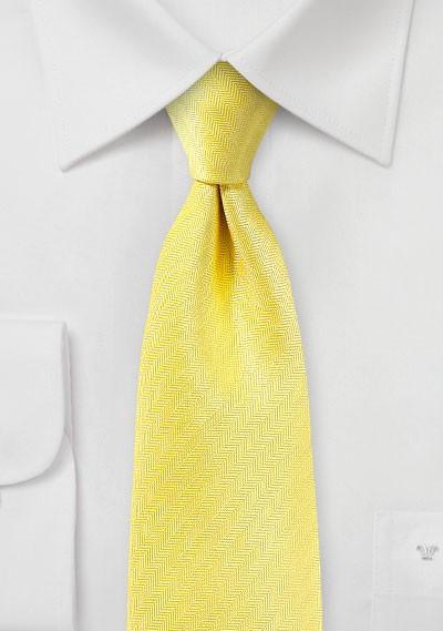 Herringbone Texture Tie in Sun Yellow