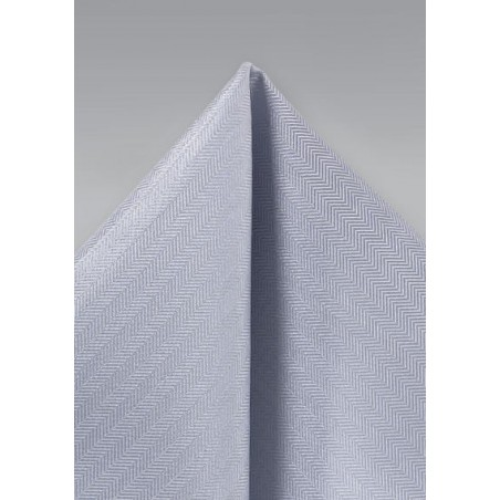 Silver Herringbone Pocket Square