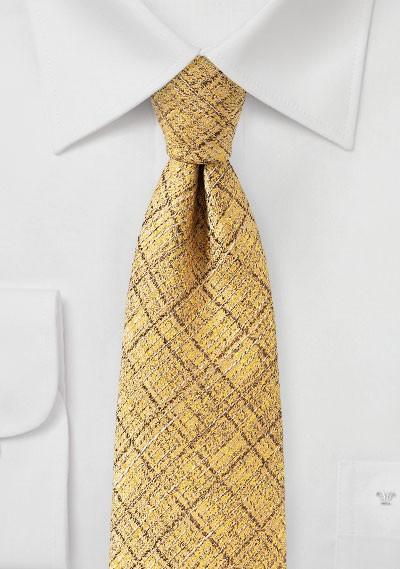 Shiny Gold Plaid Designer Tie