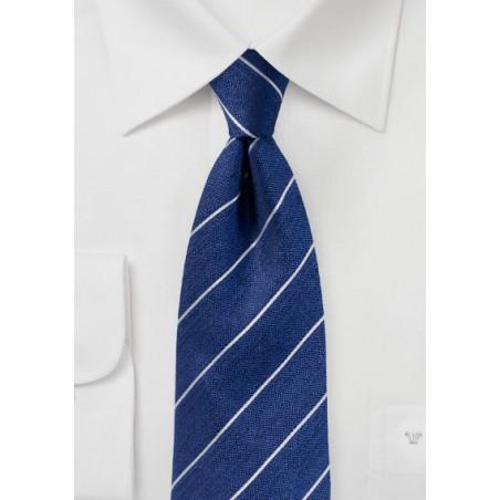 Textured Striped Silk Tie in True Blue