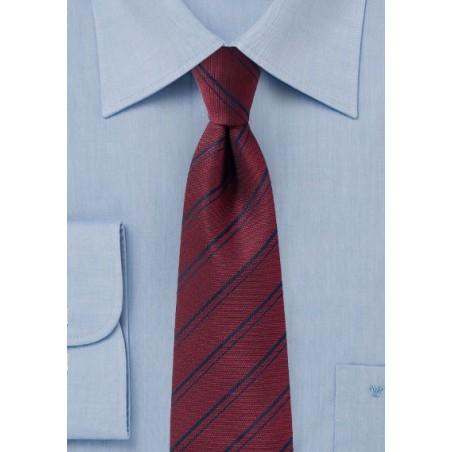 Maroon Striped Tie in Matte Finish