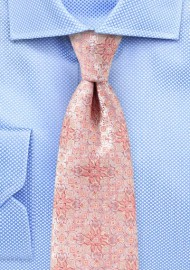 Peach Pink Medallion Weave Silk Tie