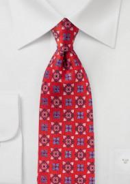 Bright Red Medallion Design Silk Tie