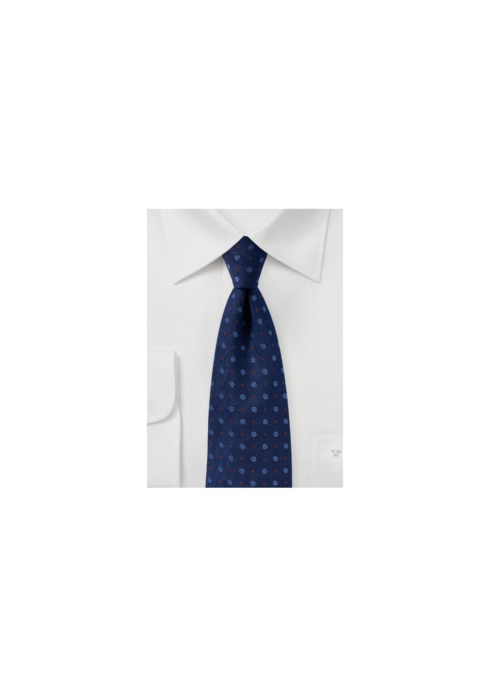 Navy Woven Floral Mens Tie