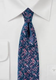 Abstract Designer Tie in Blue and Coral