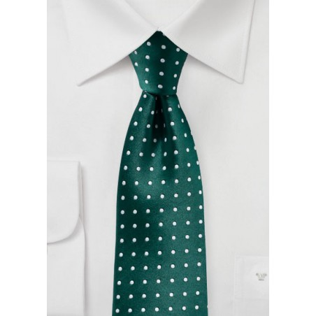Dark Green and Silver Woven Polka Dot Tie