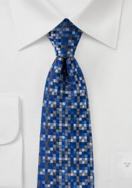 Blue and Gray Patchwork Check Tie