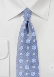 Sky Blue Woven Floral Tie