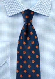 Floral Tie in Navy and Orange