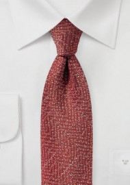 Textured Tie in Golden Burgundy Made from Recycled Yarns