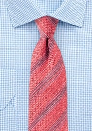 Recycled Poly Yarn Tie in Coral