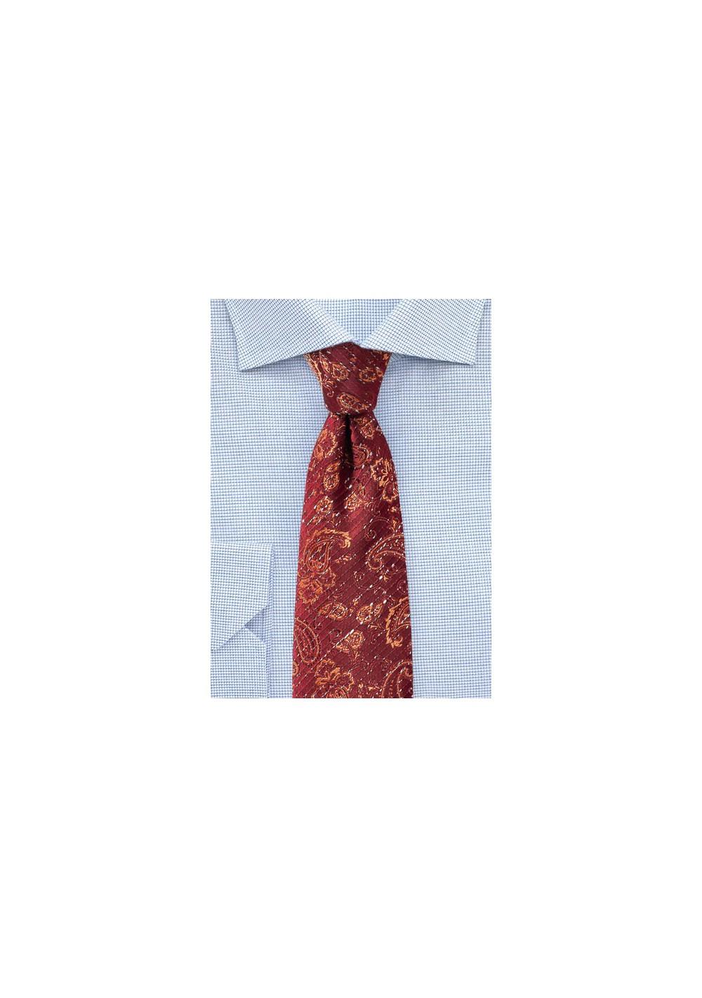 Tibetan Red Paisley Necktie