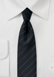 Trendy Designer Skinny Tie in Black and Metallic Silver