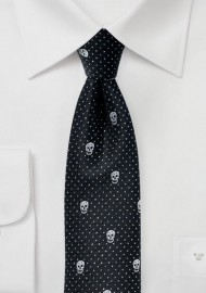 Black Skinny Tie with Metallic Skull Design