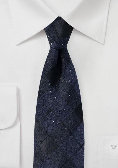 Dark Navy Tartan Plaid Tie in Cotton