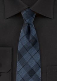 Slate Blue Tartan Plaid Cotton Tie