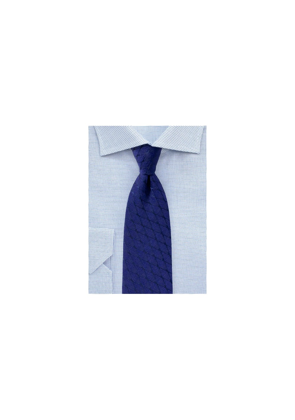 Royal Blue Wool Blend Tie with Rhombus Pattern