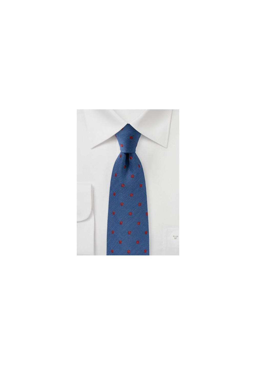 Indigo and Cherry Wool Tie