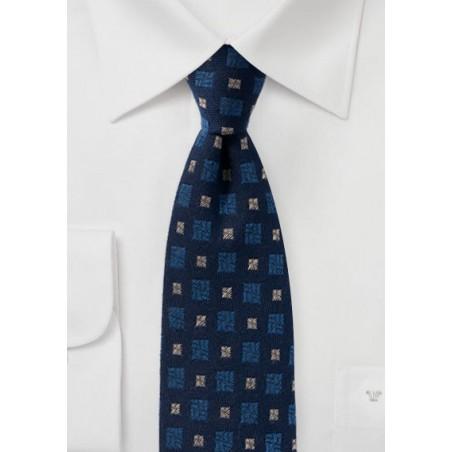 Navy Blue Wool Tie with Medallion Design