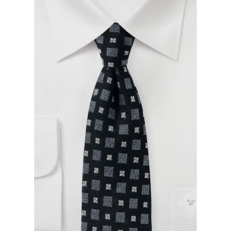 Black and Gray Wool Winter Tie