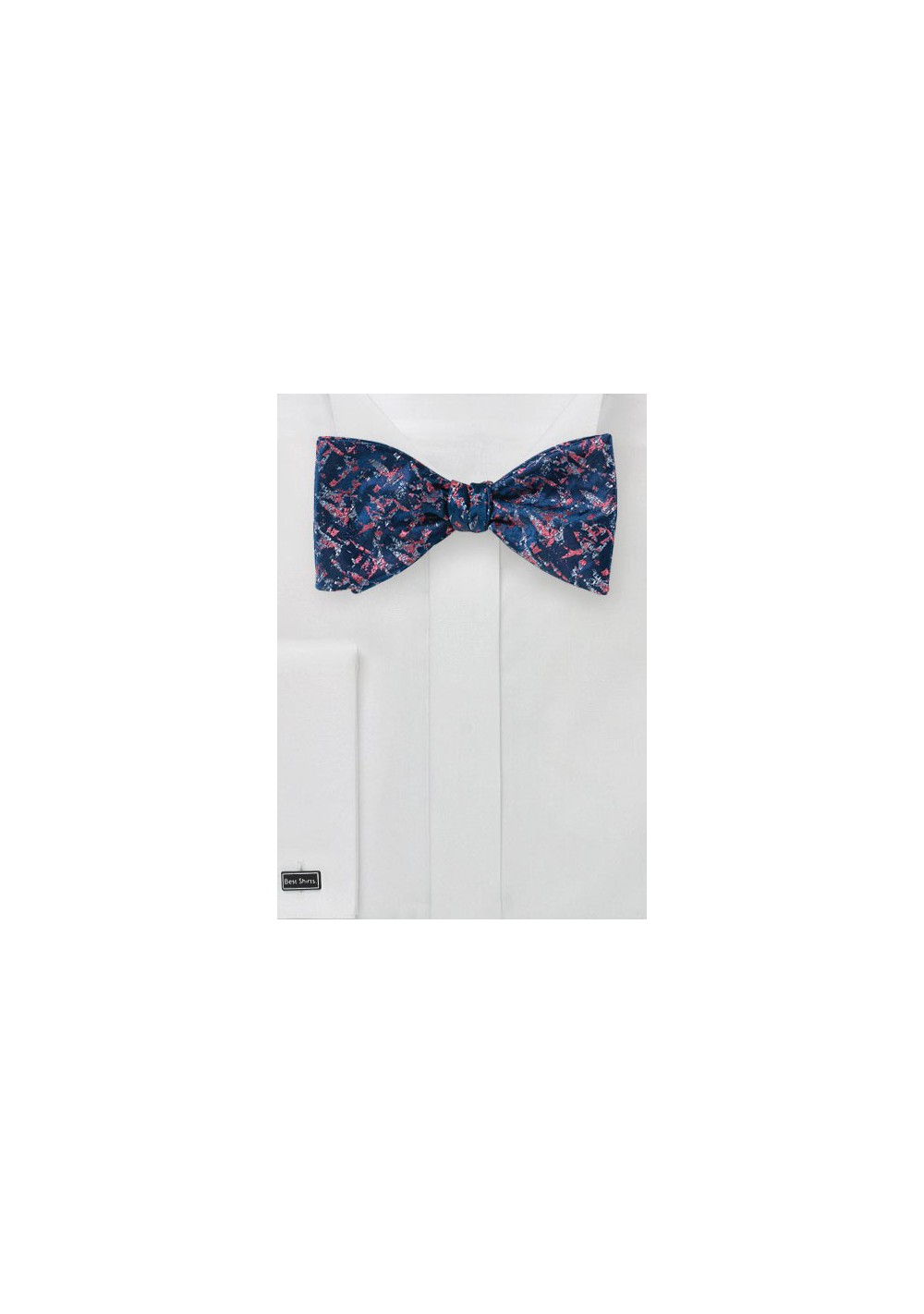 Abstract Art Bow Tie in Navy and Coral
