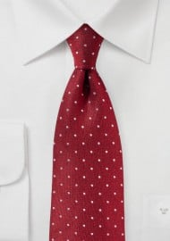 Cherry Red Polka Dot Tie in Matte Silk Finish