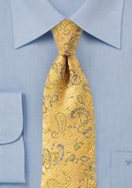 Golden Yellow Textured Paisley Tie