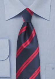 Navy and Red Striped Kids Necktie