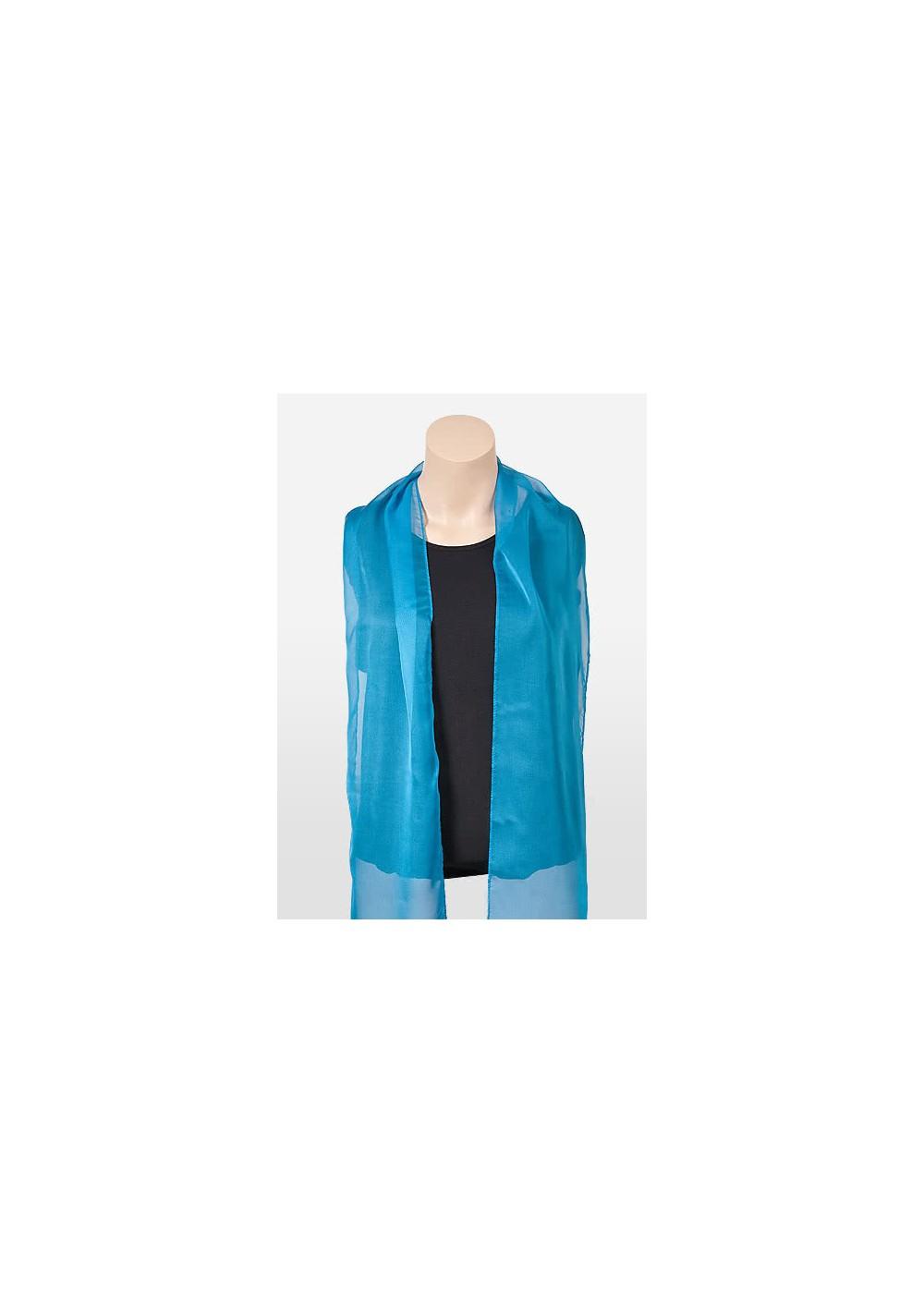 Womens Chiffon Fabric Scarf in Cyan Blue