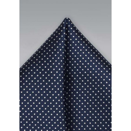 Sapphire Blue Pocket Square with Tiny White Dots
