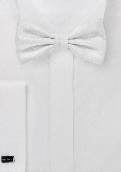 Ivory Pin Dot Bow Tie