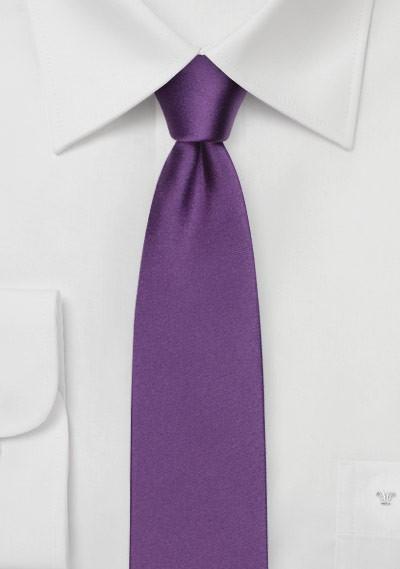 Skinny Silk Tie in Violet Purple